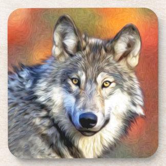 Pintura del arte del lobo posavasos de bebidas