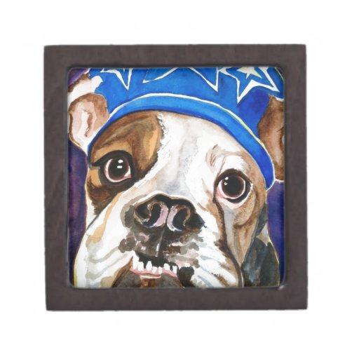 Pintura del arte del perro de la acuarela del dogo caja de regalo de calidad