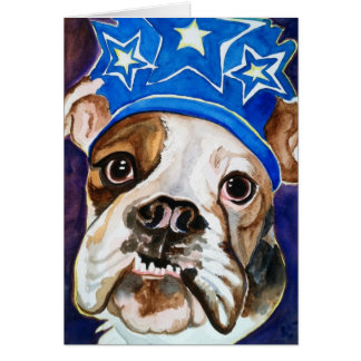 Pintura del arte del perro de la acuarela del dogo tarjetón