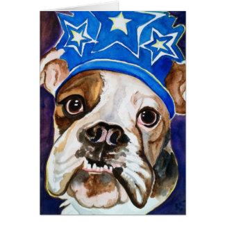 Pintura del arte del perro de la acuarela del dogo tarjeta de felicitación