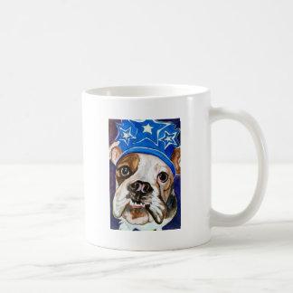 Pintura del arte del perro de la acuarela del dogo taza básica blanca