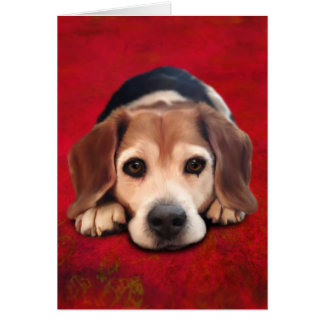 Pintura del arte del perro de la bella arte del tarjeta de felicitación