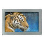 Pintura del arte del tigre hebilla de cinturón rectangular