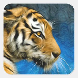 Pintura del arte del tigre pegatina cuadrada
