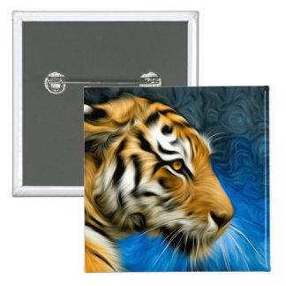 Pintura del arte del tigre pin cuadrado