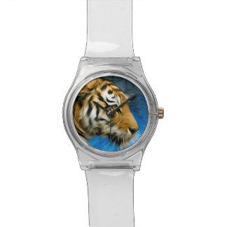 Pintura del arte del tigre relojes de mano