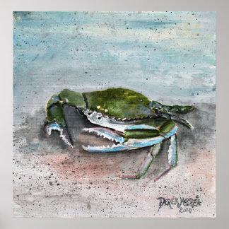 pintura del arte moderno del cuadrado de la playa  póster