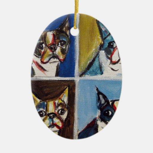 Pintura del arte pop de Boston Terrier Adorno Navideño Ovalado De Cerámica