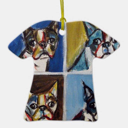 Pintura del arte pop de Boston Terrier Ornamento De Reyes Magos