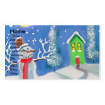 Pintura del arte popular de la escena del invierno tarjeta de visita