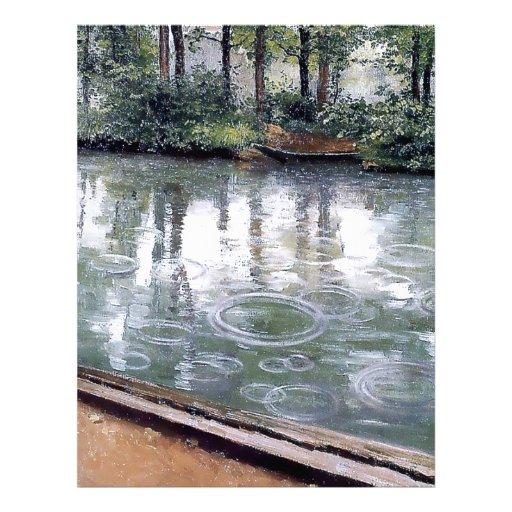 Pintura del barco del agua de lluvia del río plantilla de membrete
