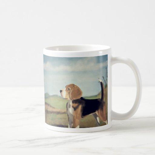 Pintura del beagle del vintage taza
