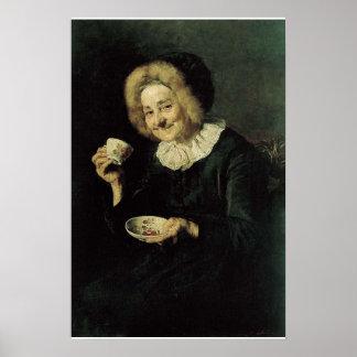 Pintura del bebedor del café de Kofetarica Póster