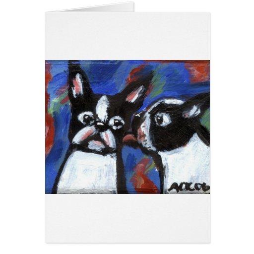 Pintura del beso del amor de Boston Terrier Tarjeta De Felicitación