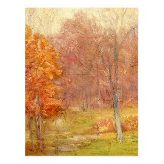 Pintura del bosque de la caída del vintage tarjetas postales
