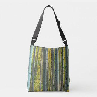 Pintura del bosque del abedul bolsa cruzada
