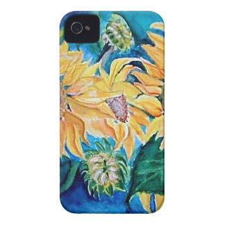 Pintura del búho de la acuarela del girasol iPhone 4 Case-Mate protectores