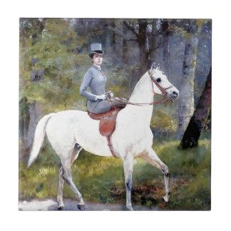 Pintura del caballo blanco de señora Riding Azulejo Cerámica
