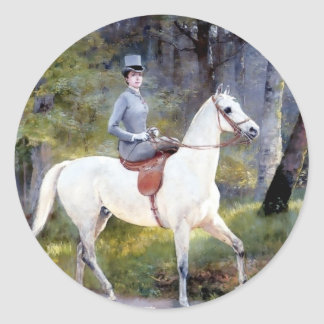 Pintura del caballo blanco de señora Riding Etiqueta Redonda
