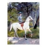 Pintura del caballo blanco de señora Riding Postal