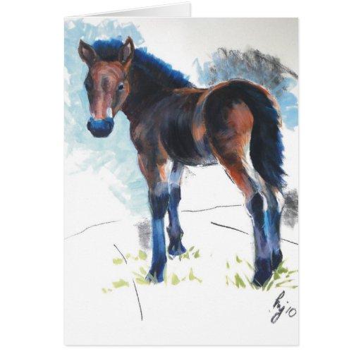 Pintura del caballo de Dartmoor del potro de los Tarjeta De Felicitación