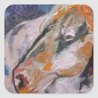 Pintura del caballo pegatina cuadrada
