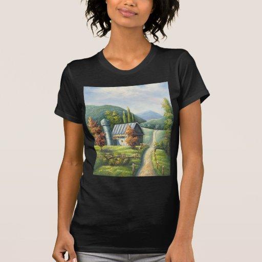 Pintura del camino de tierra del país de la granja t-shirts