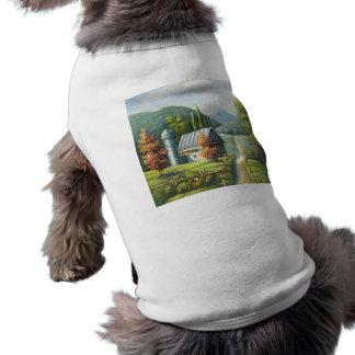 Pintura del camino de tierra del país de la granja playera sin mangas para perro