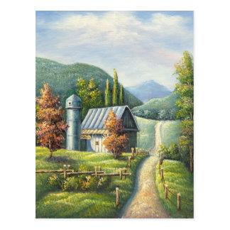 Pintura del camino de tierra del país de la granja postal