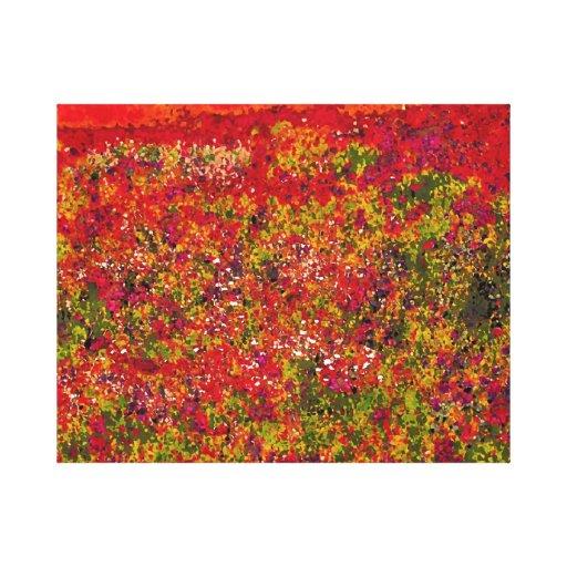 Pintura del campo de flor salvaje - lona envuelta impresión en lienzo estirada