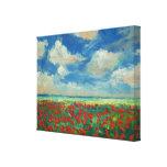 Pintura del campo de la amapola lienzo envuelto para galerías