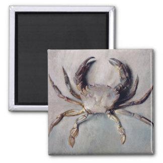 Pintura del cangrejo del vintage imán cuadrado
