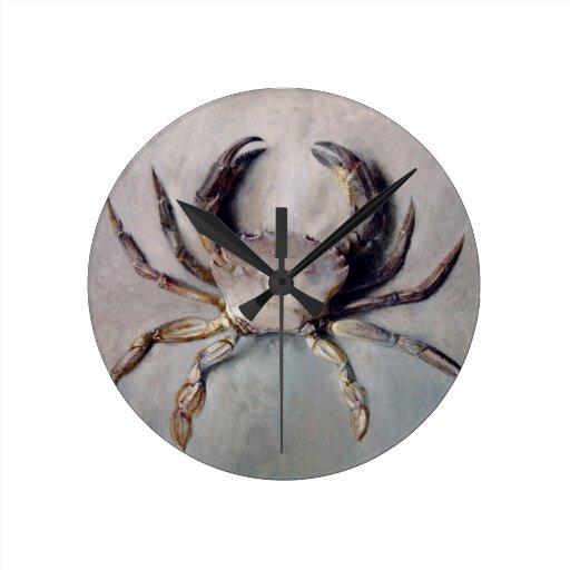 Pintura del cangrejo del vintage reloj redondo mediano