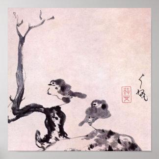 Pintura del cepillo del japonés, Chu-TA 1650-1705 Póster