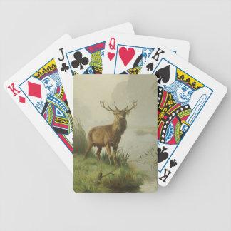 Pintura del ciervo común cartas de juego