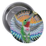 """Pintura del colibrí de Beija Flor (""""Kisser de la f Pin Redondo De 3 Pulgadas"""