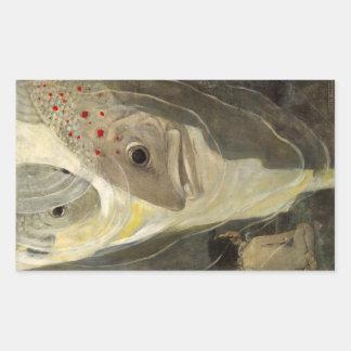 Pintura del color de agua de la charca de Koi del Pegatina Rectangular