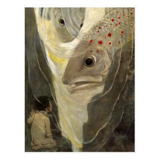 Pintura del color de agua de la charca de Koi del Tarjeta Postal