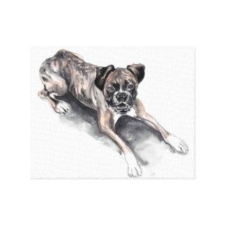Pintura del color de agua del perro del boxeador.  impresiones en lona estiradas