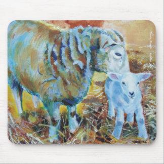 Pintura del cordero y de las ovejas alfombrillas de ratón