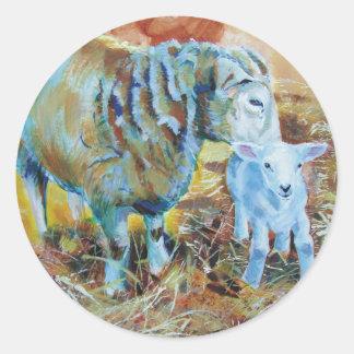 Pintura del cordero y de las ovejas etiquetas redondas
