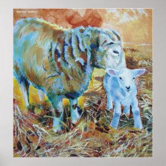 Pintura del cordero y de las ovejas poster