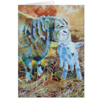 Pintura del cordero y de las ovejas tarjeta de felicitación