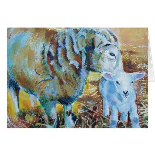 Pintura del cordero y de las ovejas tarjetón