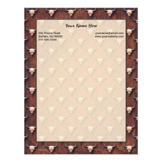 Pintura del cráneo del búfalo en el papel de Brown Membretes Personalizados