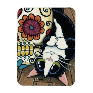 Pintura del cráneo del gato y del azúcar del rectangle magnet