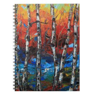 Pintura del cuchillo de paleta del árbol de abedul libros de apuntes