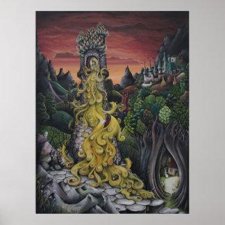 Pintura del cuento de hadas de Rapunzel Poster
