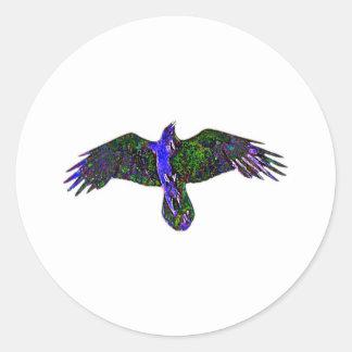 Pintura del cuervo pegatina redonda