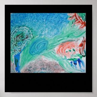 Pintura del dedo de los niños póster